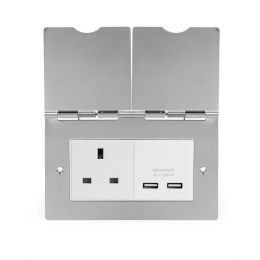 Soho Lighting Brushed Chrome Screwless Double Floor Outlet 13Amp Socket & USB Charger - Wht Ins