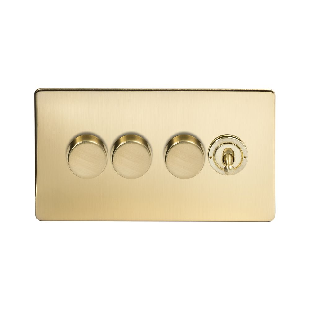 LIGHT SWITCH 1 2 3 OR 4 GANG TRAILING EDGE  SATIN BRASS DIMMER SWITCH LED