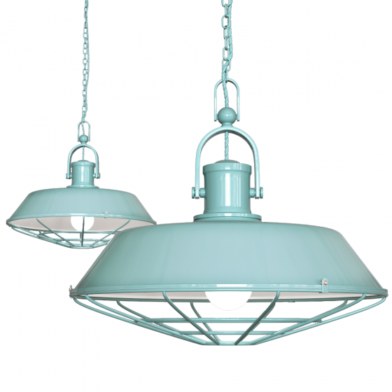 Duck Egg Blue Turquoise Caged Industrial Kitchen Island Pendant Light - Brewer - Soho Lighting