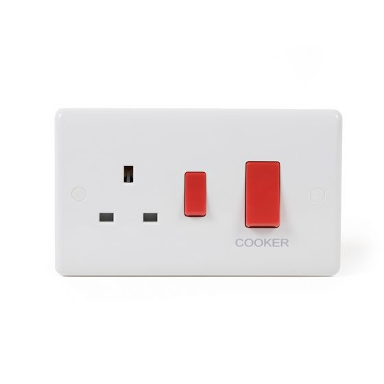 White Cooker Switch Socket