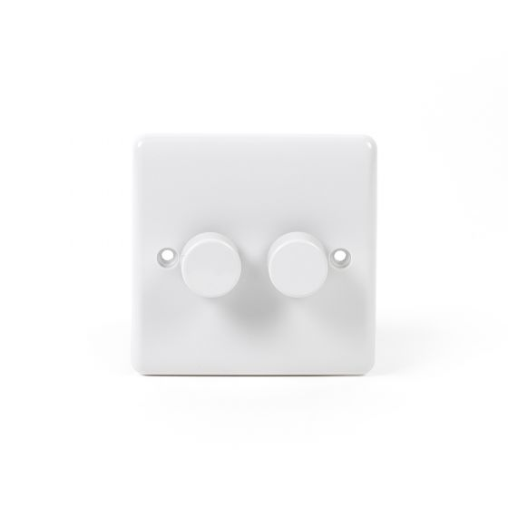 White ST Range 2 Gang 2 Way Leading Dimmer Switch