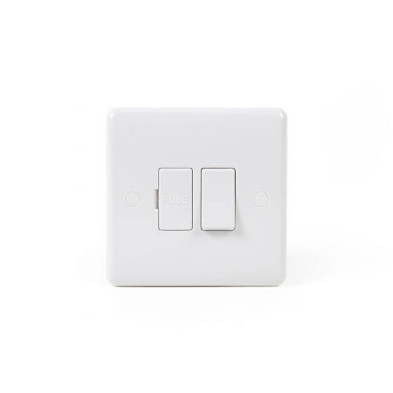 Lieber Silk White Fused Connection Unit Switched 13A - Curved Edge