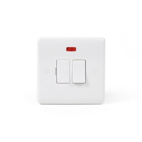 Lieber Silk White Fused Connection Unit Switched With Neon 13A - Curved Edge
