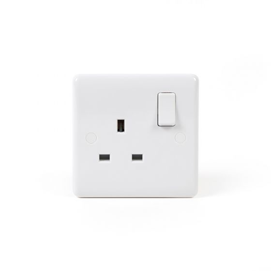 Lieber Silk White 13A 1 Gang DP Switched Socket - Curved Edge