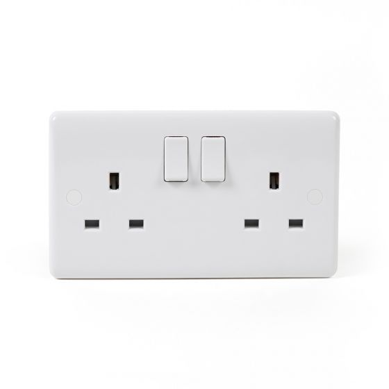 White Plastic Double Socket