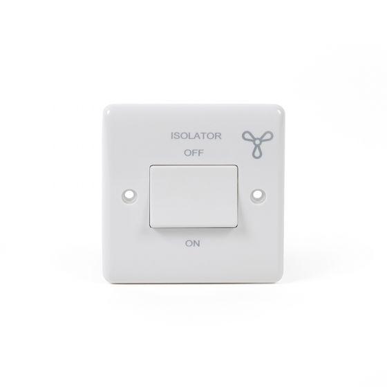 White ST Range 1 Gang 1 way Fan Isolator Switch