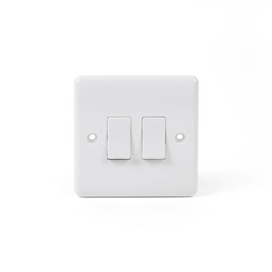 White ST Range 2 Gang Intermediate Switch