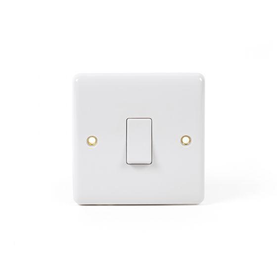 White ST Range 1 Gang Flex Outlet 20 Amp Switch