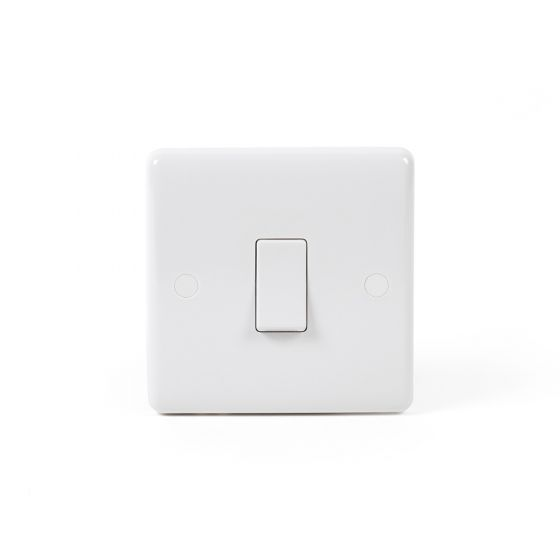 Lieber Silk White 20A 1 Gang Double Pole Switch Flex Outlet - Curved Edge