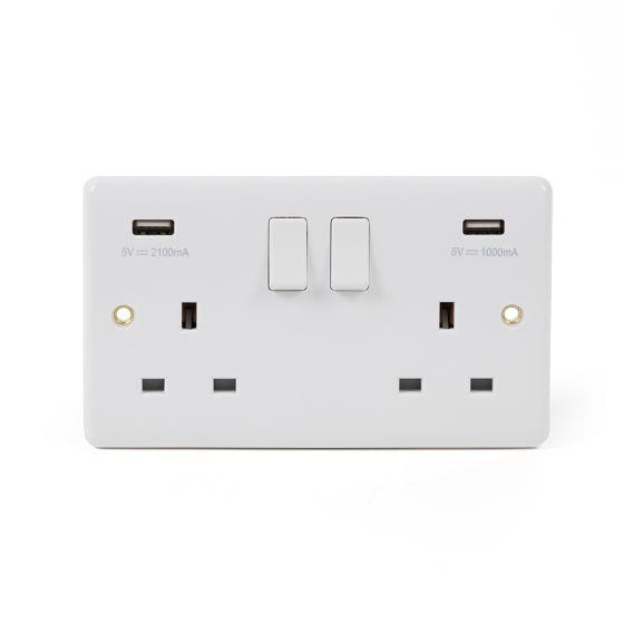 White Urea ST Range 13A 2 Gang USB Switched Socket