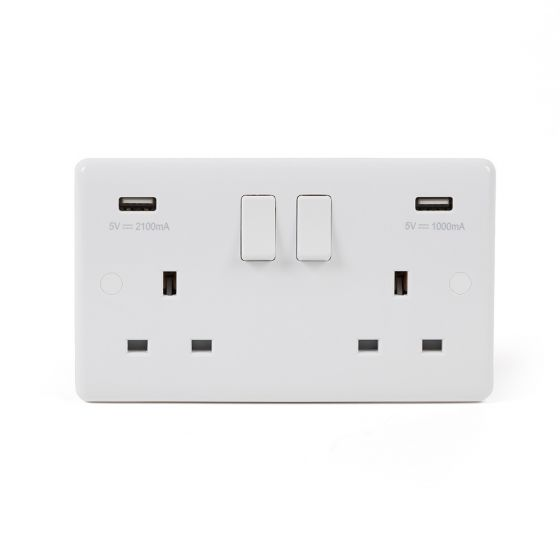 Lieber Silk White 2 Gang Double USB Socket - Curved Edge