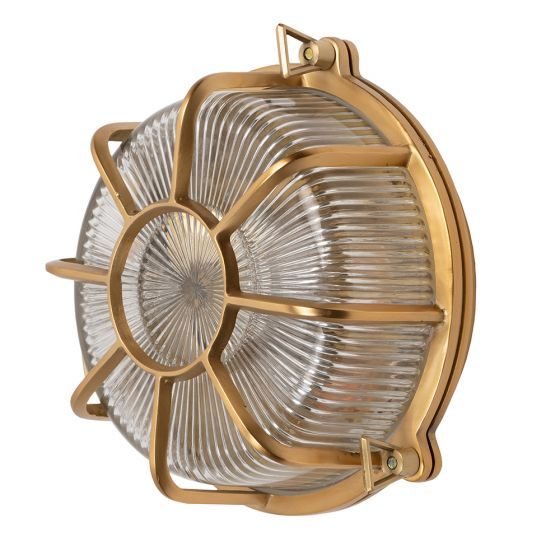 Carlisle Lacquered Brass IP66 Web Prismatic Glass Outdoor & Bathroom Wall Light