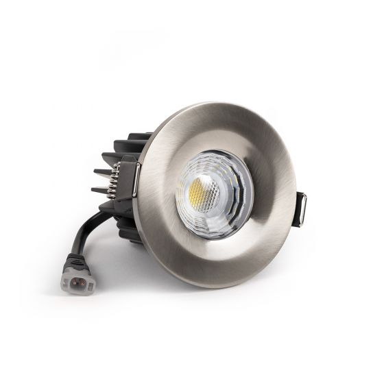 Brushed Chrome LED Downlights, Fire Rated, Fixed, IP65, CCT Switch, High CRI, Dimmable