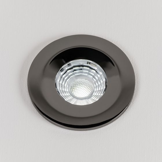 Black Chrome Fire Rated Fixed LED Downlights Dimmable