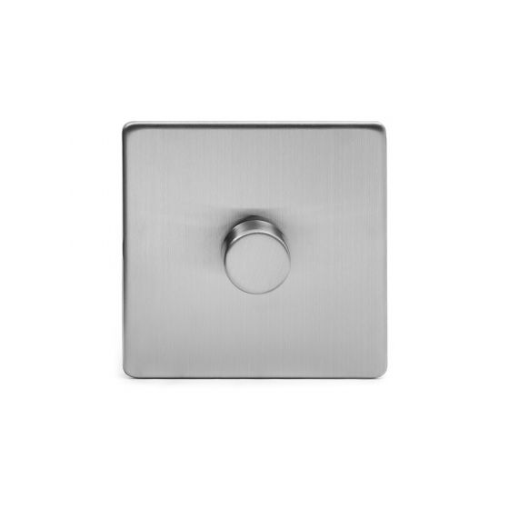 Soho Lighting Brushed Chrome 1 Gang 2 Way Trailing Edge Dimmer Switch Screwless 100W LED (250w Halogen/Incandescent)
