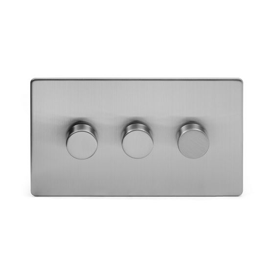 Soho Lighting Brushed Chrome 3 Gang 2 Way Trailing Edge Dimmer Switch Screwless 100W LED (250w Halogen/Incandescent)
