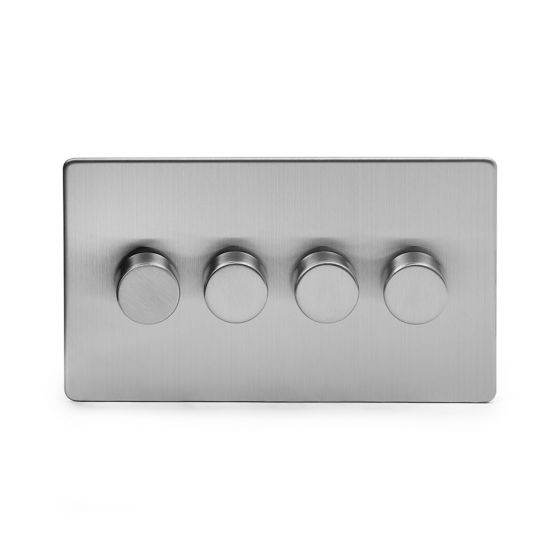 Soho Lighting Brushed Chrome 4 Gang 2 Way Trailing Edge Dimmer Switch Screwless 100W LED (250w Halogen/Incandescent)