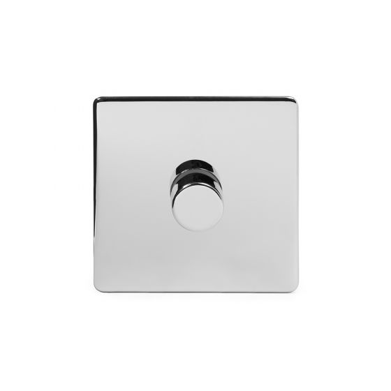 Soho Lighting Polished Chrome 1 Gang 2 Way Trailing Edge Dimmer Switch Screwless 100W LED (250w Halogen/Incandescent)
