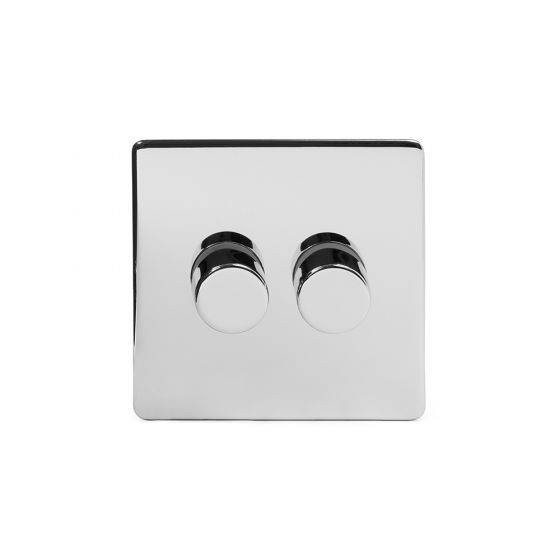 Soho Lighting Polished Chrome 2 Gang 2 Way Trailing Edge Dimmer Switch 100W LED (250w Halogen/Incandescent) Screwless