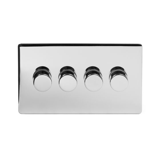 Soho Lighting Polished Chrome 4 Gang 2 Way Trailing Edge Dimmer Switch Screwless 100W LED (250w Halogen/Incandescent)
