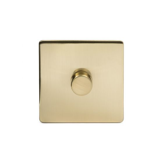 Soho Lighting Brushed Brass 1 Gang 2 Way Trailing Edge Dimmer Switch 100W LED (250w Halogen/Incandescent) Screwless