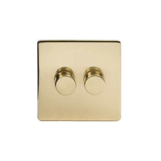Soho Lighting Brushed Brass 2 Gang 2 Way Trailing Edge Dimmer Switch Screwless 100W LED (250w Halogen/Incandescent)