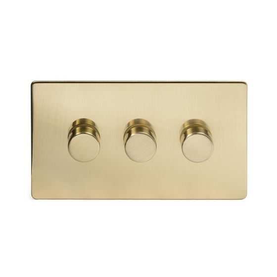 Soho Lighting Brushed Brass 3 Gang 2 Way Trailing Edge Dimmer Switch Screwless 100W LED (250w Halogen/Incandescent)