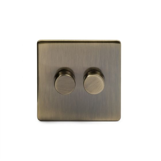 Soho Lighting Antique Brass 2 Gang 2 Way Trailing Edge Dimmer Switch Screwless 100W LED (250w Halogen/Incandescent)