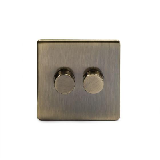 Soho Lighting Antique Brass 2 Gang 2 Way Trailing Edge LED Dimmer Switch 250W Screwless