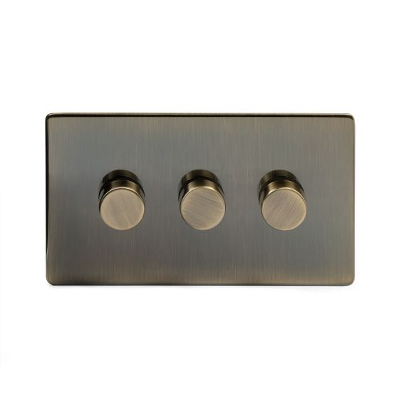 Soho Lighting Antique Brass 3 Gang 2 Way Trailing Edge Dimmer Switch Screwless 100W LED (250w Halogen/Incandescent)