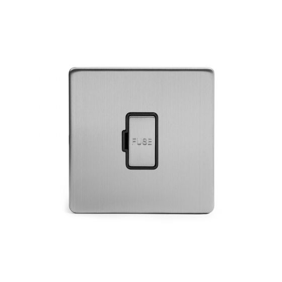 Soho Lighting Brushed Chrome Fused Connection Unit Unswitched 13A DP Blk Ins Screwless