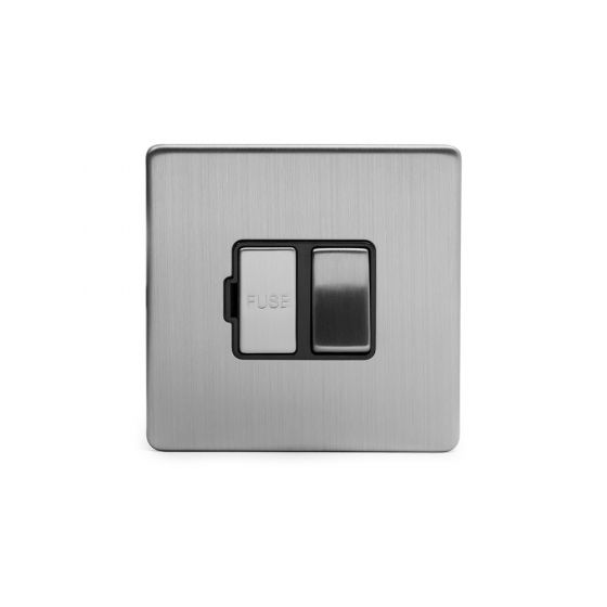 Soho Lighting Brushed Chrome Fused Connection Unit (FCU) Switched 13A DP Blk Ins Screwless