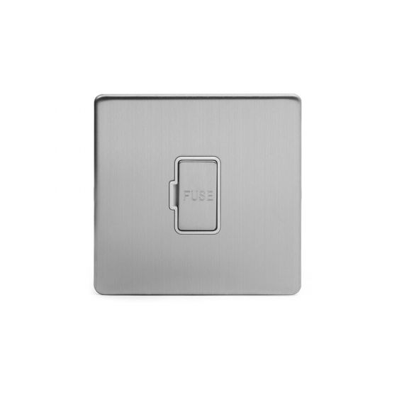 Soho Lighting Brushed Chrome Fused Connection Unit (FCU) Unswitched 13A DP Wht Ins Screwless