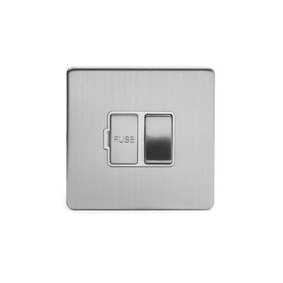 Soho Lighting Brushed Chrome Fused Connection Unit (FCU) Switched 13A DP Wht Ins Screwless