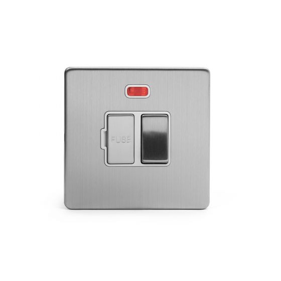 Soho Lighting Brushed Chrome Fused Connection Unit (FCU) Switched with Neon 13A DP Wht Ins Screwless