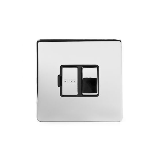 Soho Lighting Polished chrome Fused Connection Unit (FCU) Switched 13A DP Blk Ins Screwless