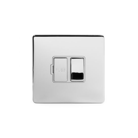 Soho Lighting Polished chrome Fused Connection Unit (FCU) Switched 13A DP Wht Ins Screwless
