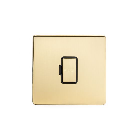 Soho Lighting Brushed Brass Fused Connection Unit Unswitched 13A DP Blk Ins Screwless