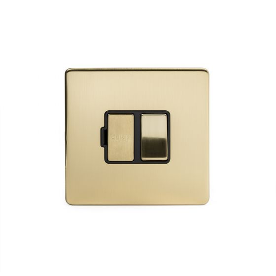 Soho Lighting Brushed Brass Fused Connection Unit Switched 13A DP Blk Ins Screwless