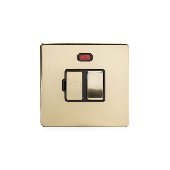 Soho Lighting Brushed Brass Fused Connection Unit Switched with Neon 13A DP Blk Ins Screwless