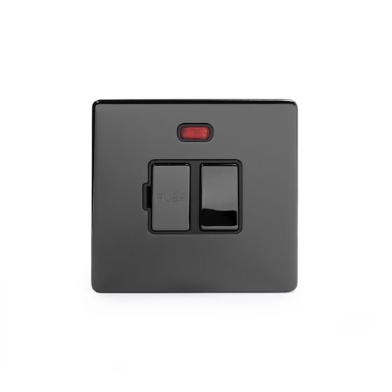 Soho Lighting Black Nickel Fused Connection Unit (FCU) Switched with Neon 13A DP Blk Ins Screwless