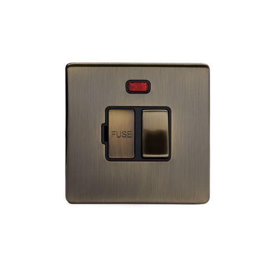 Soho Lighting Antique Brass Fused Connection Unit (FCU) Switched with Neon 13A DP Blk Ins Screwless