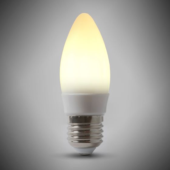 4w E27 ES 4100K Opal Dimmable LED Candle Bulb with white plastic