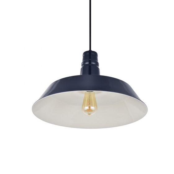 Large Argyll Industrial Pendant Light Squid Ink Blue