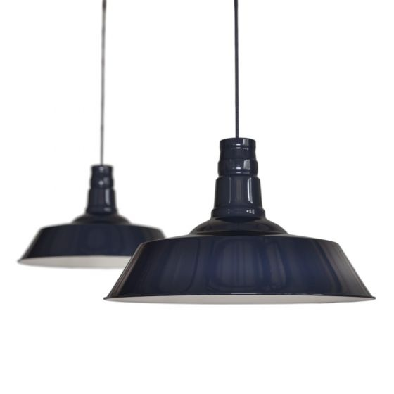 Large Industrial Pendant Light in Navy Blue