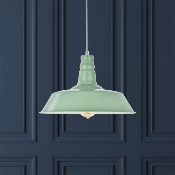 Skip to the beginning of the images gallery Large Argyll Industrial Pendant Light Chalk Green