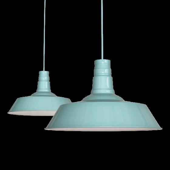 Duck Egg Blue Turquoise Industrial Dining Room Pendant Light - Large Argyll - Soho Lighting