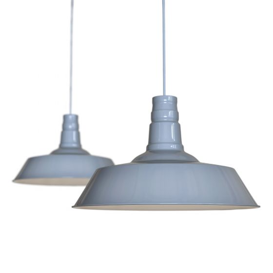 French Grey Large Industrial Dining Room Pendant Light - Large Argyll - Soho Lighting