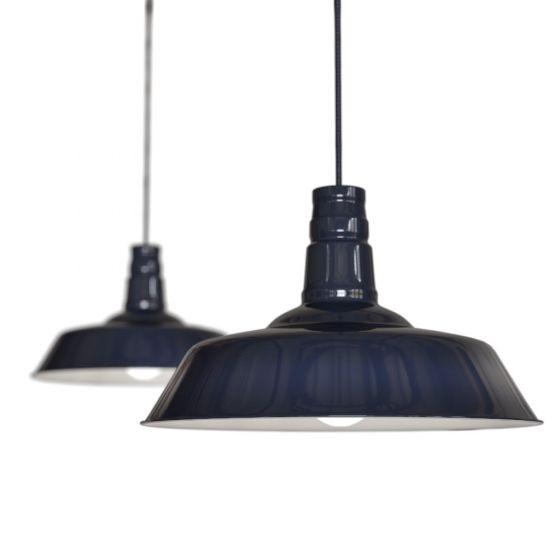 Squid Ink Navy Blue Industrial Breakfast Bar Pendant Light - Argyll - Soho Lighting