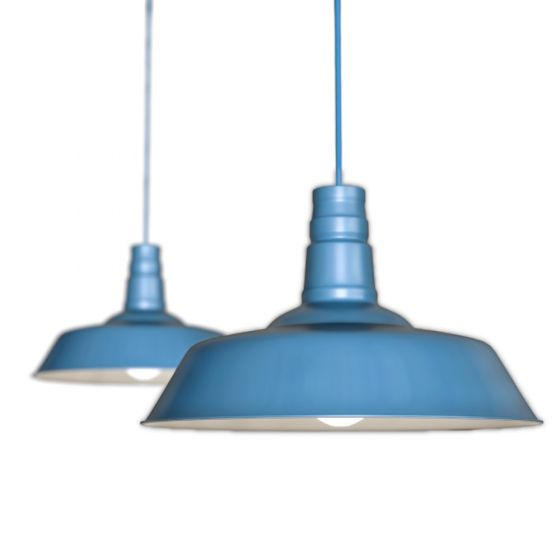Blue Industrial Pendant Light